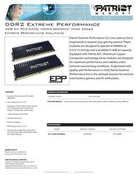 Patriot Memory DDR2 4GB (2 x 2GB) PC2-6400 Low Latency DIMM Kit PVS24G6400LLK Leaflet