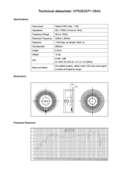 Kepo KP5083SP1-5844 miniature speaker 8 Ω, 330 Hz ± 20 % KP5083SP1-5844 Data Sheet