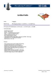 M-Cab PCI Express Karte - 1x S-ATA, 1x E-SATA ex. 7100073 Leaflet
