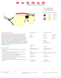 Gunnar Optiks SteelSeries DESMO DES-05101 SS Leaflet