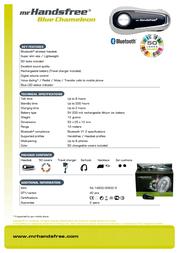 Mr. Handsfree Headset blue chameloen bluetooth MRH50025 Leaflet