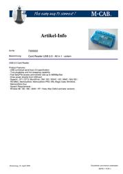 M-Cab Card Reader USB 2.0 - All in 1 7300022 Leaflet