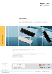 Memory Corp 2GB Hi-Speed USB Disc MC2GBUSB17 Leaflet
