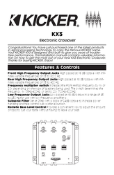 Kicker 2003 KX3 Owner's Manual