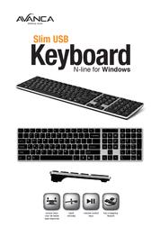 Avanca Qwerty Slim USB keyboard for Windows Silver Black AVKB-N04 Leaflet