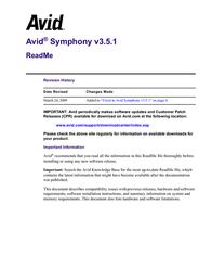 Avid Technology Avid Symphony 3.5.1 User Manual