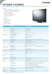 "Tatung 42"" 1920 x 1080 HD Widescreen LCD TV V42EMGI Leaflet"