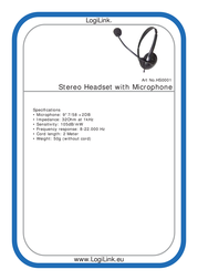 LogiLink Stereo Headset Earphones with Microphone HS0001 Leaflet