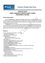 ADATA Extreme Edition DDR3 1600X 4GB-kit AD31600X002GMU2 User Manual