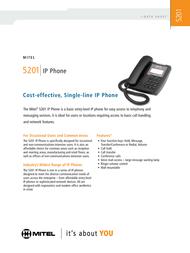 Mitel Networks 5201 IP Phone 50002815 Leaflet