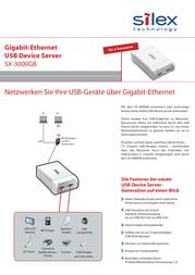 Silex Technology Network USB server LAN (10/100/1000 Mbps), USB 2.0 SX-3000GB Data Sheet