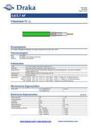 Draka 1002206 Video Cable, , Green Sheath 1002206 Data Sheet