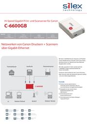 Silex Technology Network print server LAN (10/100/1000 Mbps), USB C-6600GB Data Sheet