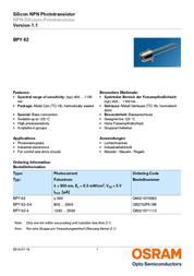 Osram Components N/A BPY 62 N/A Osram Components BPY 62 Data Sheet