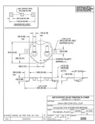 Keystone , CR2430 Coin Cell Holder, SMT 3006 Data Sheet