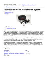 Metropolitan Vacuum Cleaner Company DataVac DV-3ESD1 Leaflet