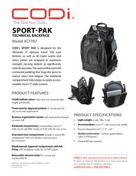 CODi Sport-Pak C7707 Leaflet