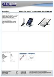 """Newstar Products NSLS100 Laptop Cooler 10.1"""", 11.6"""", 12.1"""", 12.5"""", 13.3"""", 14"""", 15"""", 15.4"""", 15.6"""", 16"""", 16.4"""", 17"""", 17.3"""" NSLS100 Data Sheet"""