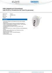 Ewent By Eminent USB charger Mains socket EW1217 USB 4 x 2100 mA EW1217 Data Sheet