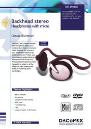 Dacomex Stereo Neckband Headset + Microphone 059230 Leaflet