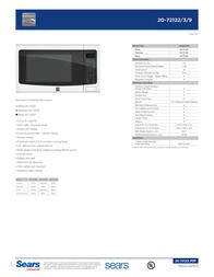 Kenmore 1.2 Cu. Ft. Countertop Microwave White 72122 Data Sheet