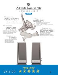 Altec Lansing PC, CD, DVD and MP3 player 2.0 speaker system VS2120E Leaflet