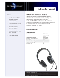 Total Micro HPM400-TMT Multimedia Headset - Cable Connectivity HPM400-TMT 产品宣传页