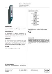 Hsb Industrieelektronik ISOLATION TRANSDUCER 24 VUC STR 016017 Leaflet