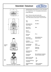 Kalthoff Hot wire connector Socket, straight Total number of pins: 2 + PE 25 A Black 1 pc(s) 344008 Data Sheet