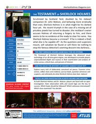 Atlus THE TESTAMENT OF SHERLOCK HOLMES SH-00151-4 Leaflet