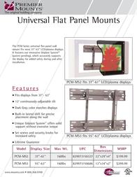 """Premier Mounts Universal Flat-Panel Mount for 37""""-61"""" Flat Panels (PCM-MS2) PCM-MS2 Leaflet"""