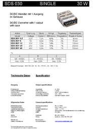 Sunpower SDS 035B-12 enclosed DC/DC converter, output: +12 V 3 A 35 W SDS 035B-12 Ficha De Dados