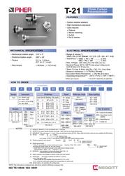 Piher T21TH-M0607502A2020MTA Stereo Potentiometer T21TH-M0607502A2020MTA Data Sheet