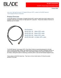 BLADE Network Technologies SFP+ Copper Direct Attach Cable, 1m BN-SP-CBL-1M Leaflet