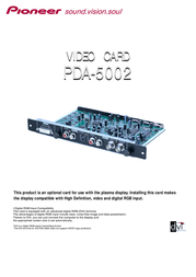 Pioneer TARJETA DE VIDEO PDA-5002 Leaflet