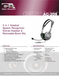 Cyber Acoustics AC-208 Data Sheet