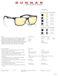 Gunnar Optiks VINYL VIN-00101Z Leaflet