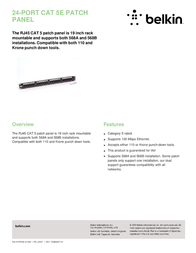 Belkin 24-Port CAT 5e Patch Panel F4P338-24-AB5 Leaflet