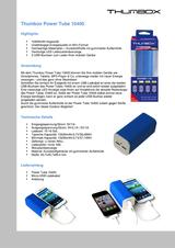 Thumbox Rechargeable notebook battery Li-ion 10400 mAh JOB-03E-NB Power Tube, Mobile power supply, Additional battery, P JOB-03E-NB データシート