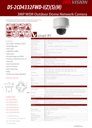 Hikvision Digital Technology HIKVISION dome outdoor 3.0MP cam DS-2CD4332FWD-IZS Leaflet