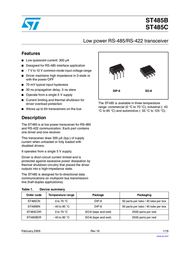 STMicroelectronics ST485CDR Linear IC ST485CDR Data Sheet