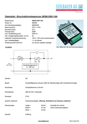 Sedlbauer Current limiters SESB-250V-16A Integrated thermal fuse 535742 Data Sheet