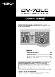 Edirol Video Editing Controller DV-7DLC User Manual