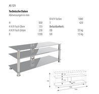 Schnepel AS 121 S TV-table clear glass AS121S Data Sheet