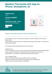 Netatmo Wireless indoor thermostat Free standing, Wall 7 up to 30 °C NTH01-DE-EC Data Sheet