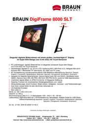 Braun Photo Technik DigiFrame 8000 SLT 21153 Leaflet