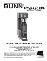 Bunn Single TF DBC (with Smart Funnel)Canada Owner's Manual