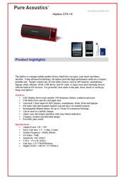 Pure Acoustics GTX-14 GTX 14/RD Leaflet
