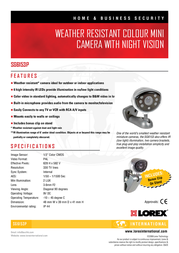 Lorex Weather Resistant Color Mini Camera with Night Vision SG6153P Leaflet