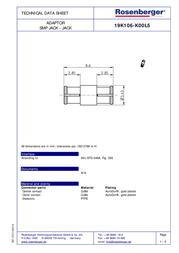 Rosenberger SMP adapter SMP socket - SMP socket 19K106-K00L5 1 pc(s) 265241 Data Sheet